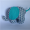 Baby elephant plush toy with grey / aqua polka dots