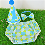 Blue & Green Polka Dot 1st Birthday Outfit or Cake Smash Set
