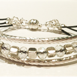 Crystal and silver beads on leather bracelet