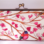Bird song on white large clutch purse