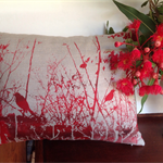 Bower Bird in my Garden Cushion ~ cushion cover  & insert Autumn Red