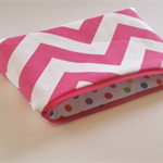 Candy & White Zig Zag/Chevron Zip Pouch - Coin Purse - Zip Purse