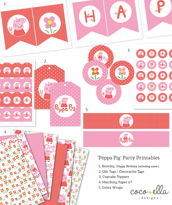 Printable Birthday Party Collection Template - 'Peppa Pig'   Coco ...
