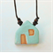 Baby Blue Glazed Ceramic House, Kiln Fired Earthenware Clay Pendant