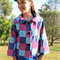 Patterned Denim and Patchwork Reversible Coat Girl's Size 9-10 Ready to post!