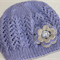 Girls Hand knitted Hat with Flower  4 to 10yrs Made to Order Custom Colour