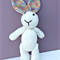 Hand Knitted Easter Bunny Rabbit, with cute Rainbow Ears and Tail