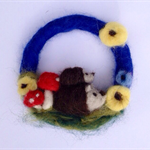 Hedgehog Felted Wreath - toadstools, sunflowers, summer