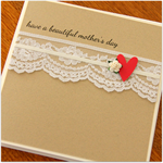 FREE POST card mother's day pretty paper heart & lace
