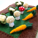 Bunny's Miniature Garden - Tiny Felt Rabbit with vegetables - Felt Easter Pouch