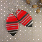 Marbled Red - Polymer Clay Earrings