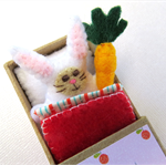 Rabbit in a Matchbox Bed - miniature felt bunny with carrot - dollhouse