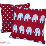 Red Elephants and spots cushion