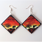 African sunset - hand painted earrings jewellery art large free shipping