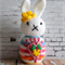 Easter Bunny - Rainbow Crochet Amigurumi Girl with Flower and Radiant Heart
