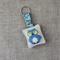 Owl, cross-stitched linen keyring, keychain, sea blue, free postage, small