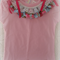 Size 1 girls shortsleeve pink top with floral/lace ruffle neckline