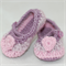 Baby Shoes, Crochet, Ballet Shoes, Booties, Pink and Purple Heart Shoes.