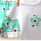 Short and T-shirt SET - Girl - Summer - Aqua hedgehog print with flower applique