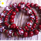 Bordeaux, Swirl, Lampwork Glass Bead & Glass Pearl Bracelet 3 Piece Set