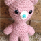 Amigurumi crocheted pink bear