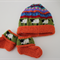 Orange Sheep Hat and Matching Booties - up to 6 months - Hand knitted