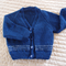 SIZE 12 -18mths - Hand knitted cardigan in blue & white: Unisex, washable, OOAK