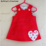 Hot Pink Corduroy Pinafore with Heart Applique - Size 000