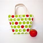 Insulated, Waterproof, Tote-Style Lunch Bag - Green and Red Apple