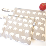 Set of 2 Large and Small Wet Bag Pouches with Tab - Choose Your Elephant Colour!