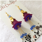 Purple and deep blue flower earrings