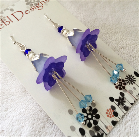 Shades of Blue flower earrings