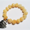 Soft Golden Yellow Aragonite Bracelet with Silver Heart