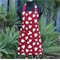 Teenager Apron in Beautiful Red Fabric with Yellow Love Hearts