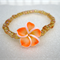 Orange Frangipani Flower Bracelet with amber seed beads for girls