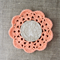 Crochet mug/teapot doily coaster in peach, mother's day gift