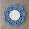 Crochet mug/teapot doily coaster in sky blue, teacher's gift, mother's day gift