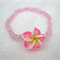 Pink Frangipani Flower Bracelet with baby pink seed beads for girls