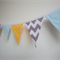 Blue, Yellow, Grey, Stripes, Chevron, Spots, Fabric Flag Banner Bunting, Boy