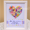 Pastels Button & Bling Heart with 'Mum, I love you' quote - framed