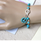 Turquoise Peace Link Bracelet Handmade OOAK by Top Shelf