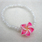 Pink Frangipani Flower Bracelet with white seed beads for girls