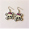 Handmade Pair of Retro Shrinky Dink Earrings - skull rockabilly