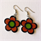 Handmade Pair of Retro Shrinky Dink Earrings - daisy flower orange green