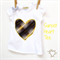 Heart T shirt yellow geometric print with bow.  Sizes 1~7