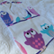 Cute Owls bib with bamboo backing. Any 3 for $25!