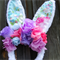Bunny in the garden flower crowns, Easter headbands, Rabbit ears