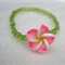 Pink Frangipani Flower Bracelet with green seed beads for girls