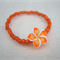 Orange Frangipani Flower Bracelet with orange seed beads for girls