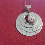 Three mummy stack washer pendant - family circle - necklace or keyring with birt